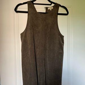 aritzia brown faux suede mini a-line dress from